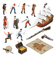 pirates isometric icons set vector image vector image