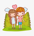 romantic couple with clouds and heart love vector image vector image