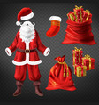 santa suit and christmas attributes set vector image