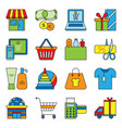 set flat shopping icons commercial purchase vector image