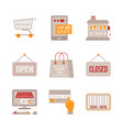 set of shopping icons and concepts in flat style vector image vector image