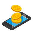 smartphone money pay icon isometric style vector image