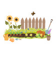 summer garden with a fence sunflowers and garden vector image