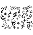 swirling decorative floral design elements vector image