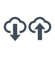 upload and download icons clouds and arrows vector image vector image