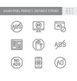 ads block line icons vector image vector image