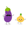 amusing cartoon eggplant and onion characters vector image