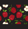 apple seamless pattern and slice with seed on vector image