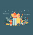 banner for christmas and new year with family vector image vector image