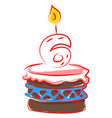 birthday cake with number six on white background vector image vector image