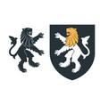 black heraldic rampant lion 03 vector image vector image