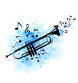 black trumpet notes and blue watercolor texture vector image vector image