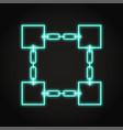 blockchain symbol icon in neon line style vector image vector image