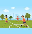 boys kids playing soccer football vector image vector image