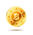 bright glossy golden coin with bitcoin sign on vector image vector image