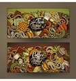 Cartoon colorful doodles cafe banners vector image vector image