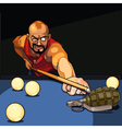 cartoon gangster man playing billiards vector image vector image