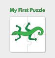 cartoon lizard puzzle template for children vector image vector image