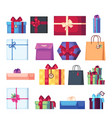 collection of different cartoon present box vector image vector image