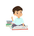 cute smart little boy character sitting on the vector image vector image