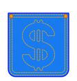 denim pocket with dollar symbol vector image
