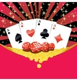 Dices playing cards and falling golden coins vector image