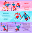 disabled people sport flat banner set vector image vector image