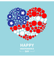 Dot heart flag Happy Independence Day vector image