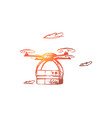 drone delivery box technology transportation vector image