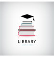 education library knowledge logo books vector image