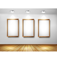 Empty wooden frames on wall with spotlights and vector image vector image