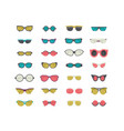fashion set with colorful sunglasses isolated on vector image