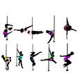 girl dancing around pole color vs vector image vector image