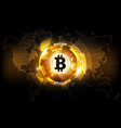 golden bitcoin digital currency and world map vector image vector image