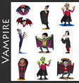 halloween set with vampire and their castle under vector image