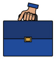 hand human with portfolio briefcase isolated icon vector image
