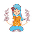 hippie woman peace and love vector image vector image