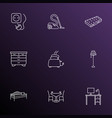 interior icons line style set with desk floor vector image
