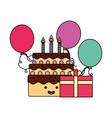 kawaii birthday cake gift and balloons vector image vector image