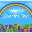landscape rainbow and city vector image vector image