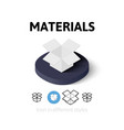 Materials icon in different style vector image vector image