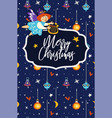 merry christmas celebration angel flying and vector image