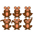 monkeys sitting in different poses set vector image
