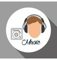 Music design boy icon White background vector image