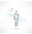 Music man grunge icon vector image vector image