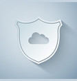 paper cut cloud and shield icon isolated on grey vector image vector image