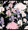 pattern beautiful pink violet blooming flowers vector image