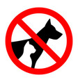 prohibition sign stop pet dog and cat simple vector image vector image