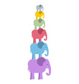 Pyramid color elephants Colorful cute animals of vector image
