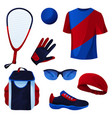 racquetball game sport tools set icons vector image vector image